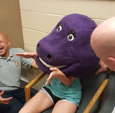 'She got stuck in the Barney': Firefighters 'rescue' Alabama teen  from giant Barney head https://t.co/GaMycIKO2V