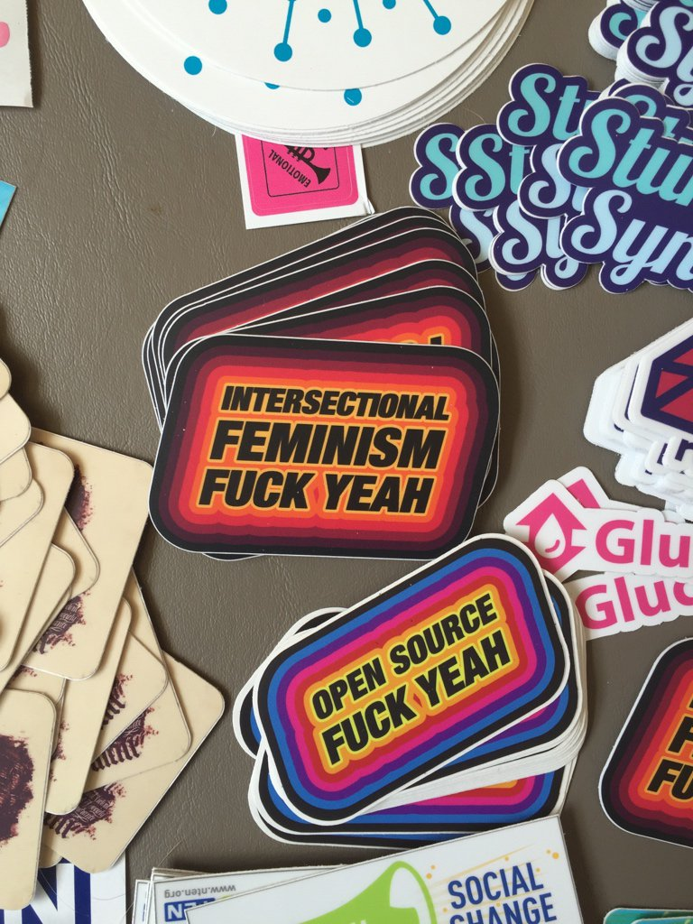 !!! The intersectional feminism stickers are back at #osb16 !!! https://t.co/7CTnbbg4F9