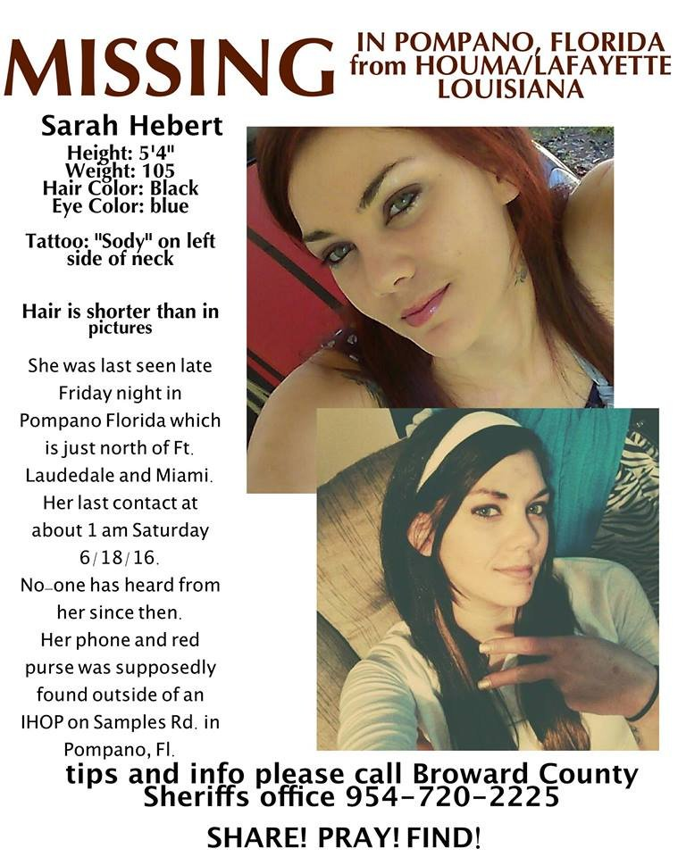 Please Share & Pray! Sarah has been missing since Saturday. Last seen Saturday in #Broward County- #Florida https://t.co/ILaZ8tVBne