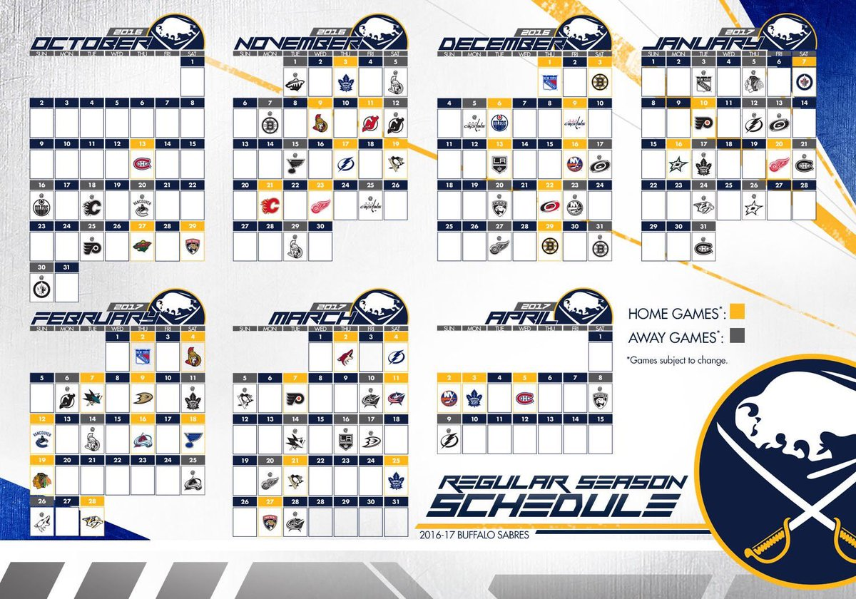 image relating to Sabres Schedule Printable named buffalo sabres program