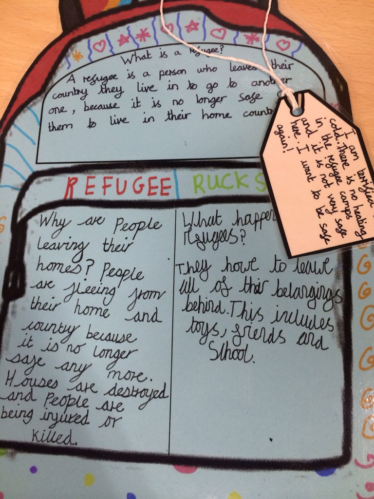 What a fantastic rucksack idea from Year 3! Learning about #refugees #InSearchofSafety #refugeeweek @UNICEF_uk https://t.co/0wWaLkMII6