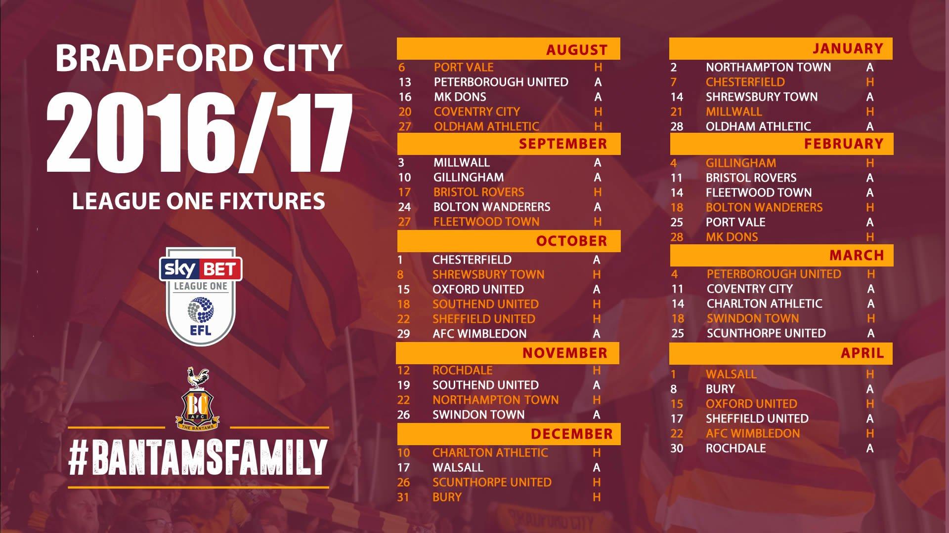 "Bradford City on Twitter: ""#BCAFC'S 2016/2017 SKY BET ..."
