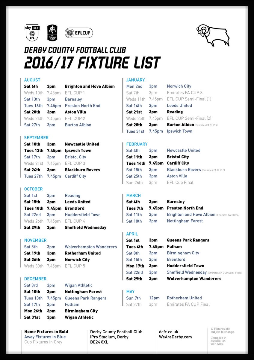 Derby County On Twitter Fixtures Here They Are Dcfcs   Skybetchamp Fixtures Have Been Confirmed Fixturereleaseday Dcfcfans  F F