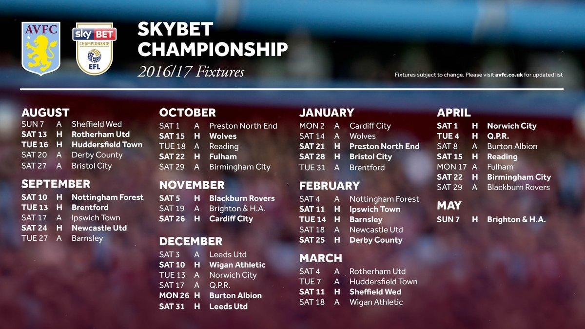 Aston Villa Fc Fixtures