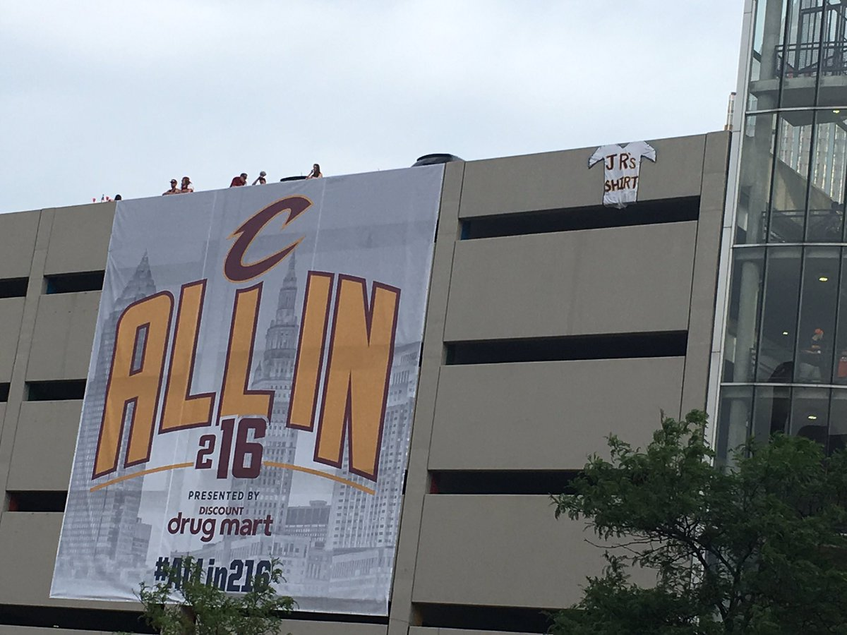 Found @TheRealJRSmith's shirt at the parking deck across from @TheQArena #CavsParade https://t.co/jFC50M3FcE
