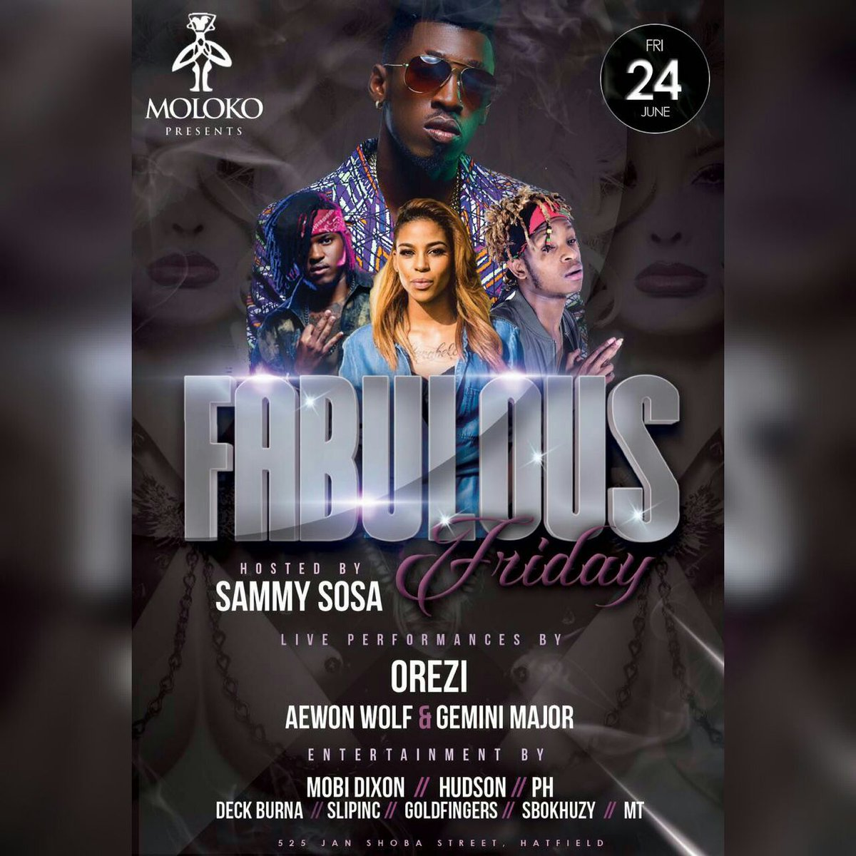 #FabulousFriday @molokopretoria @alhajiorezii LIVE on stage with @AewonWolf & @GeminiMajor hosted by @sam_lehoko https://t.co/dc1BZFx618