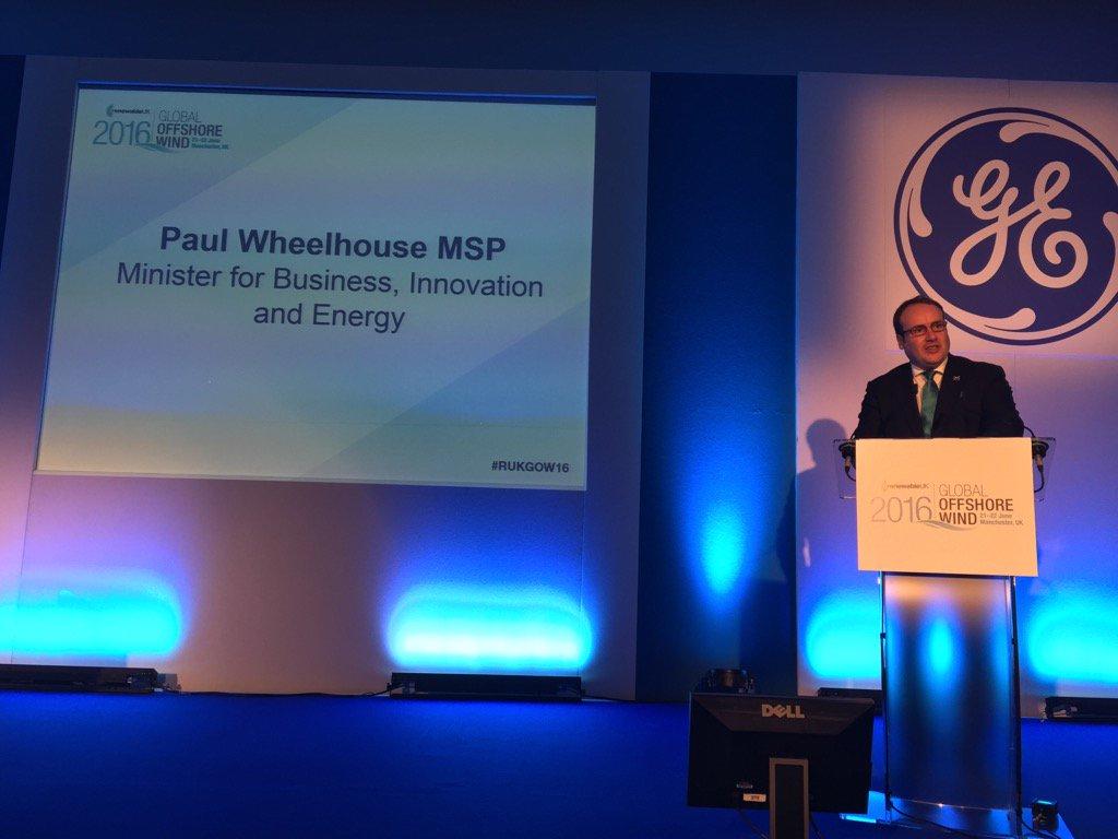 New Scottish Energy Minister @PaulWheelhouse #RUKGOW16 promises to be keen offshore wind advocate. @RUKEvents https://t.co/AlWdzXOISL
