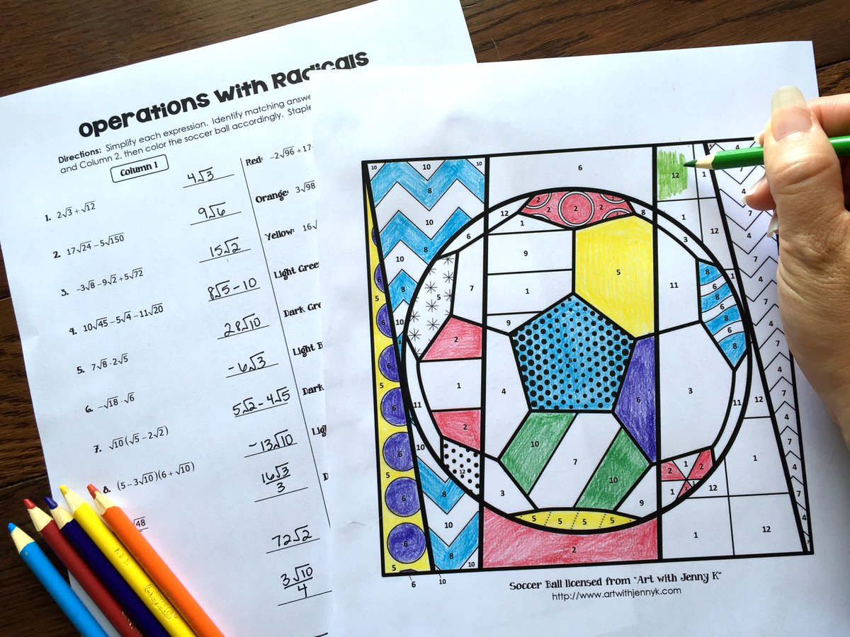 Worksheets Operations With Radicals Worksheet all things algebra on twitter highschoolmath mathfun iteachmath operations with radicals coloring activity https