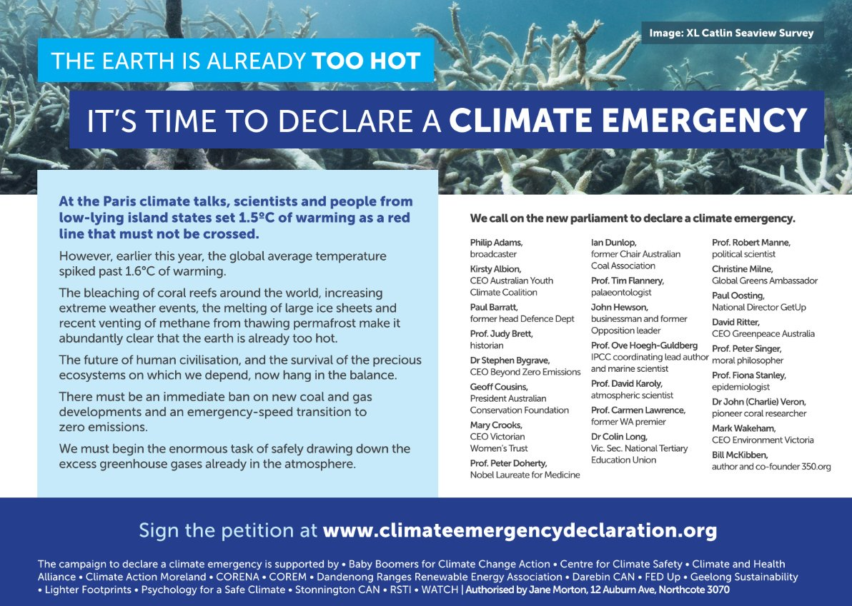 Eminent Australians call for #climateemergency to be declared  Ad in @theage #Ausvotes  https://t.co/gsAWRKX8xq https://t.co/ltKZKeGZgb
