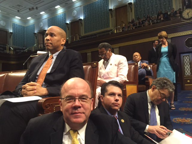 Senators showing up to support House gun control sit-in:  Murphy, Franken, Booker, Markey, Hirono