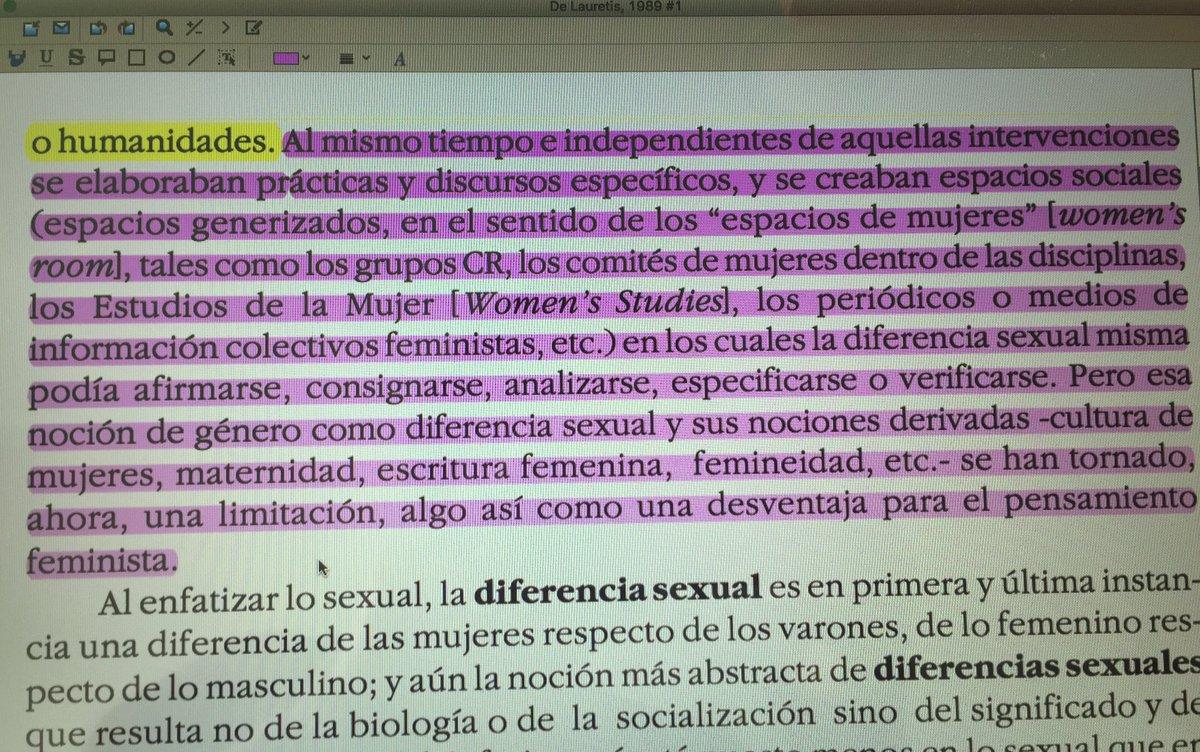 Entender el género como diferencia sexual, limita el pensamiento feminista #TeresaDeLauretis para #SeminarioMD