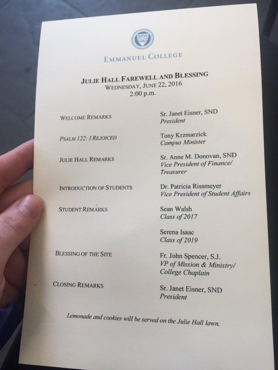 Program for the ceremony #JulieHallMemories https://t.co/suaZ66GRWh