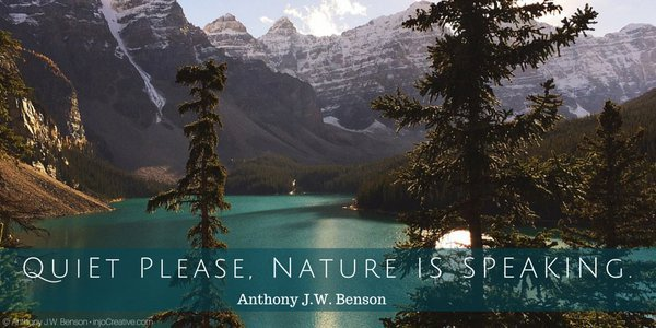 anthony j w benson on quiet please nature is speaking