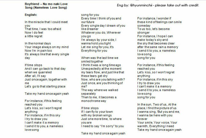 Puchann On Twitter Trans Lyrics Boyfriend Na Mo Naki Love Song Please Take Out With Credit