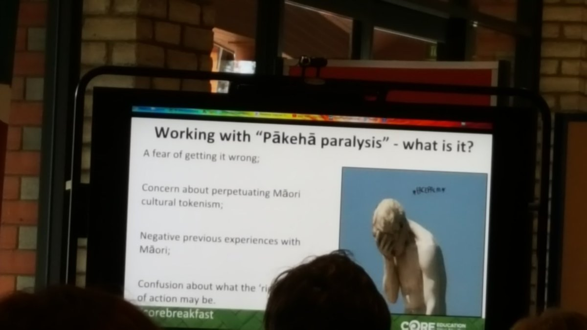 What is pākeha paralysis? Fear of getting it wrong 'own your dickness' - have a go @gemsteww #corebreakfast https://t.co/kMxh2K83mA