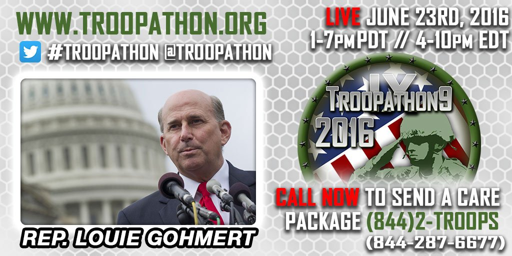 .@replouiegohmert is a great supporter of our troops! Join #Troopathon - send a care package https://t.co/tMB97cqAV7 https://t.co/R0TRUMjPZc