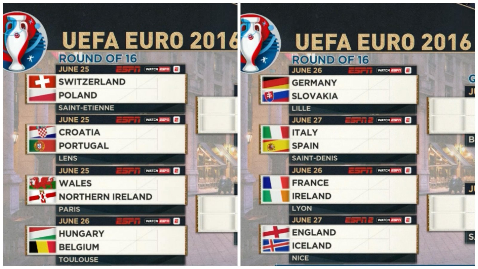 sportscenter on twitter the round of 16 is set left side of the bracket 0 euro titles right. Black Bedroom Furniture Sets. Home Design Ideas