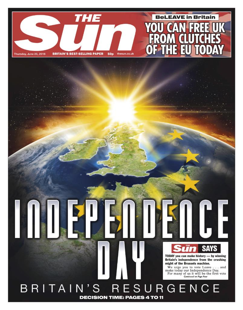 Independence Day: The Sun says #VoteLeave https://t.co/FY36PTIFA5