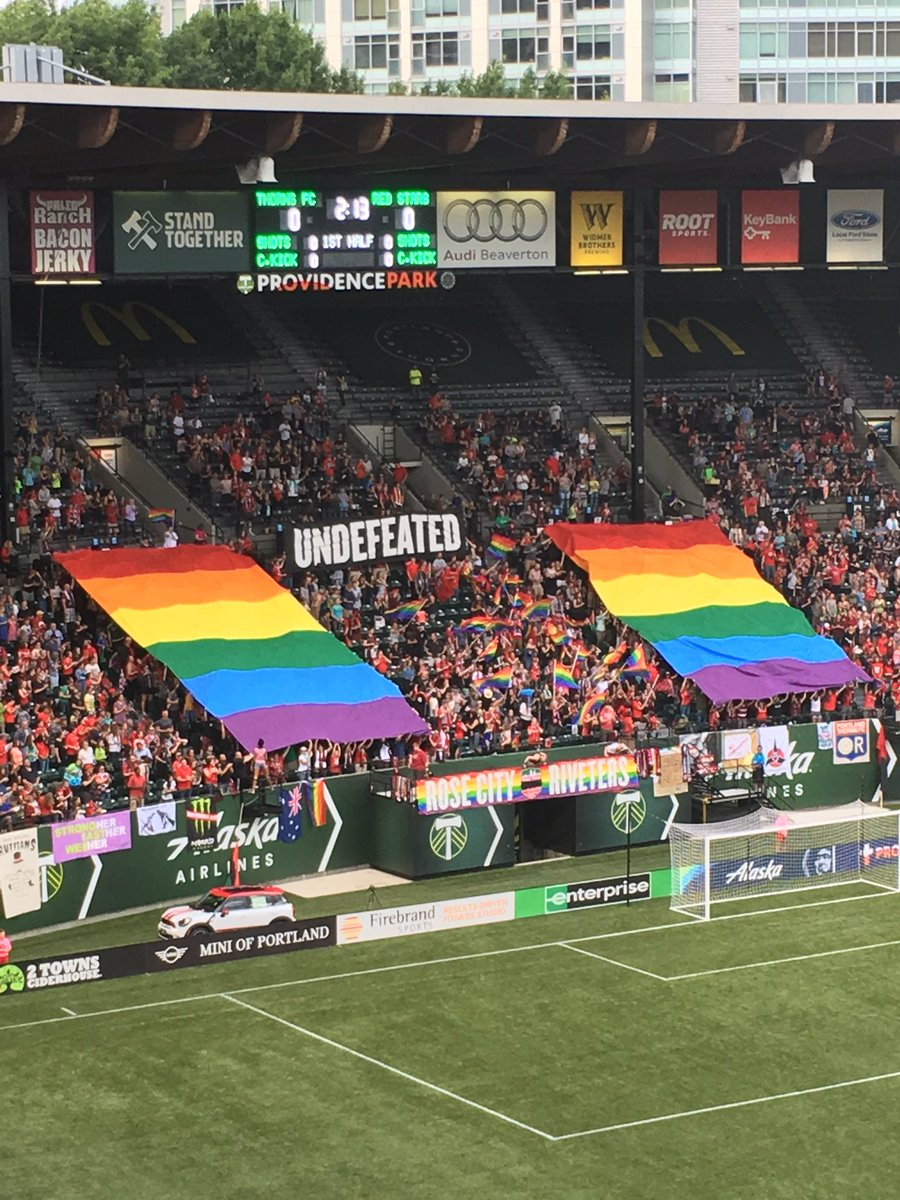 . @PDXRivetersSG Pride display ahead of tonight's Thorns match. https://t.co/xIOToSOKL8