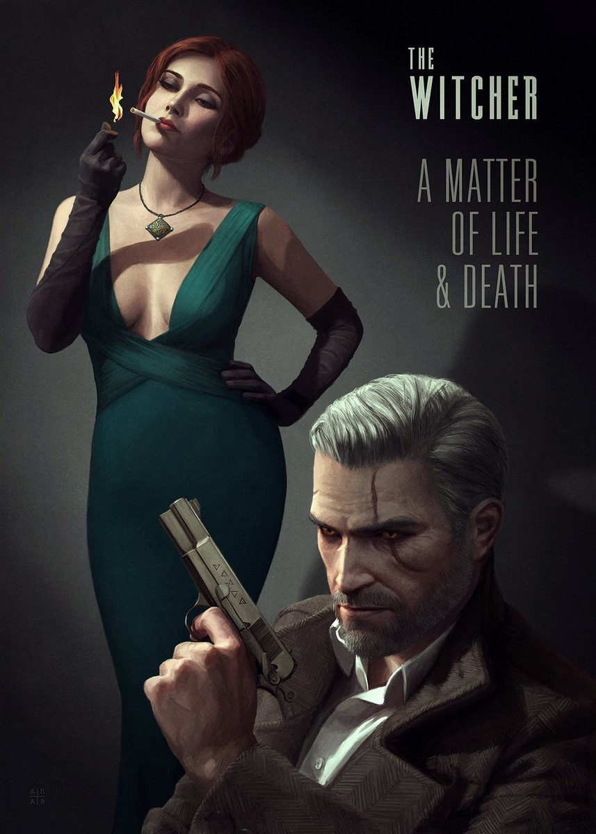 These modern film noir inspired Witcher illustrations by @AstorAlexander are AMAZING!! - https://t.co/6L665wLqgL https://t.co/W6bTJdk853