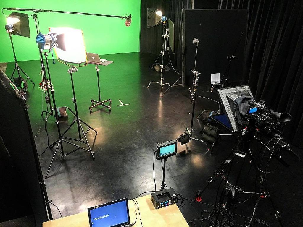 The D2 Studio, set for yesterday's #greenscreen shoot. #sony #teleprompter #arri #shinynewfloor