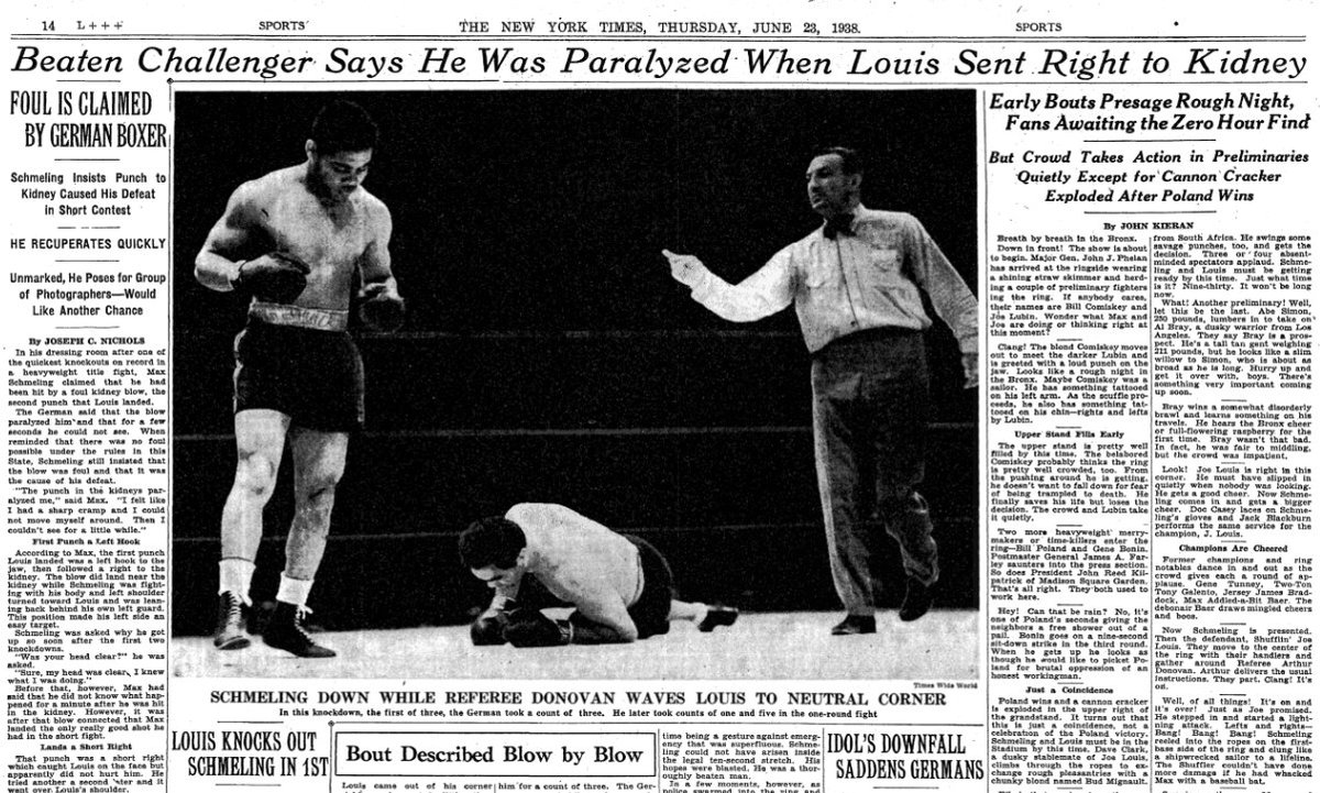Image result for joe louis knocks out max schmeling in 1938