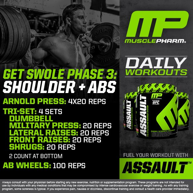 Musclepharm Daily Workouts Shoulder And Abs Welivethis Realathletesrealscience Mpnationpic Twitter Zqvbjd9q1k