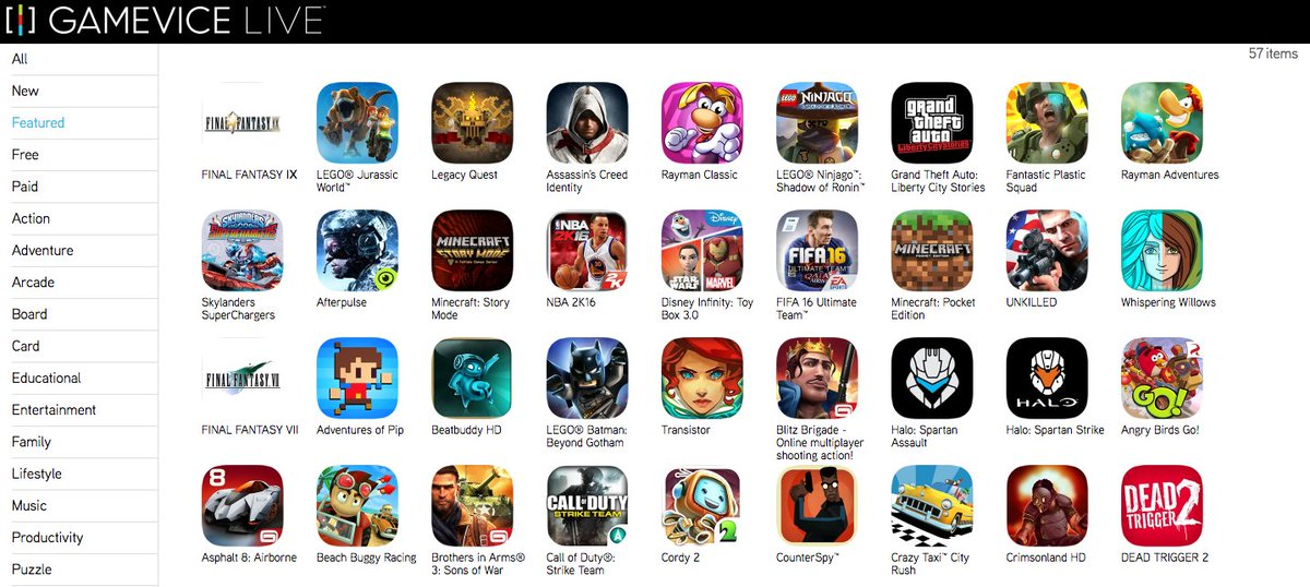 Here are some of the games that the GameVice App currently holds