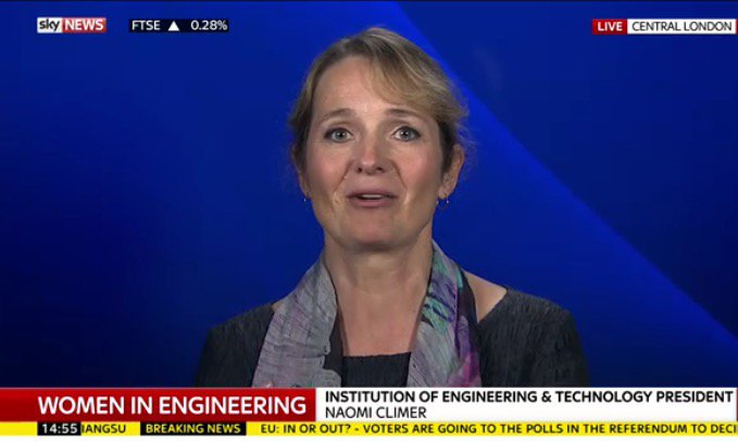 Naomi Climer @IETPresident was on @SkyNews earlier talking about the need for more women #engineers #NWED2016 https://t.co/3gNhhO927U