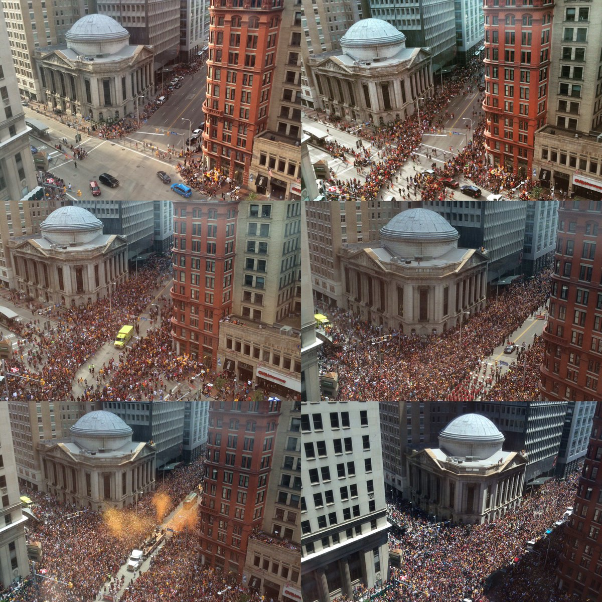Views throughout the day of the crowds outside our Downtown #Cleveland store for yesterday's championship parade. https://t.co/iq2ct1zpbh