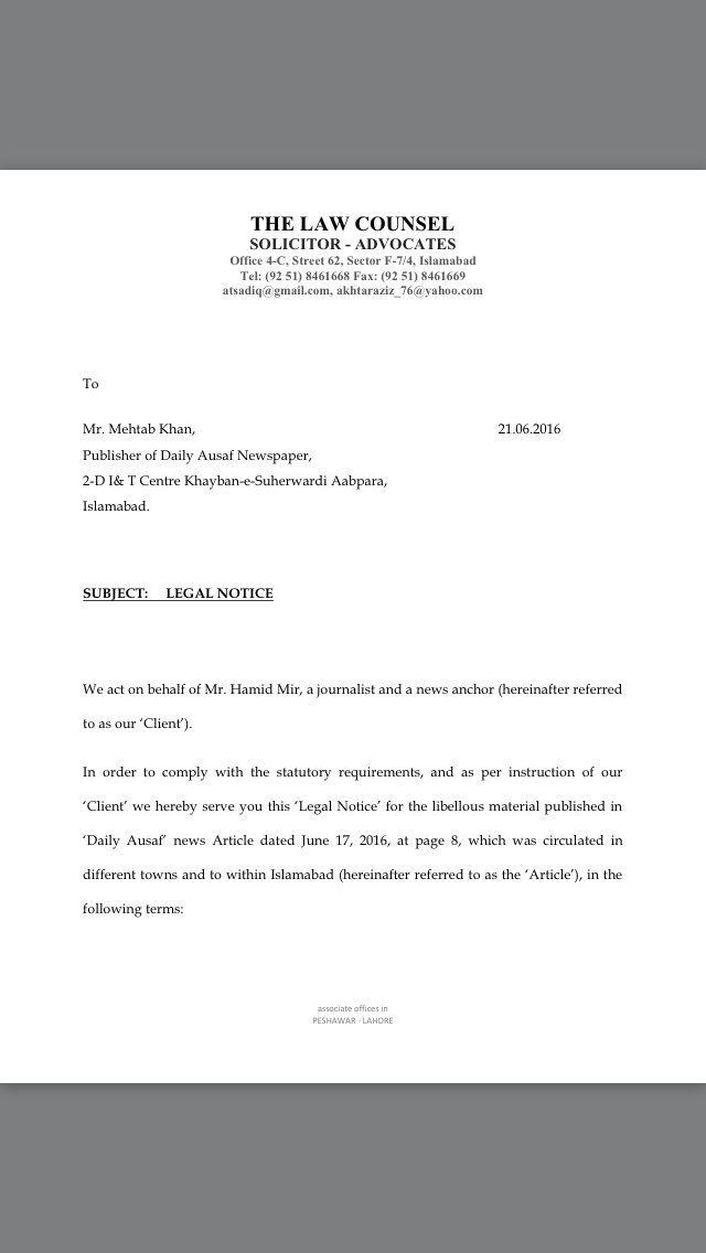 Hamid Mir On Twitter Sent Legal Notice To Daily Ausaf For