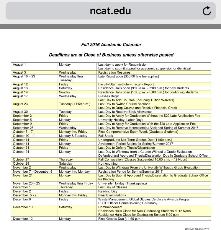 Ncat Academic Calendar.Ncat Roundtable On Twitter Ncat Ncat20 These Are The Fall 2016