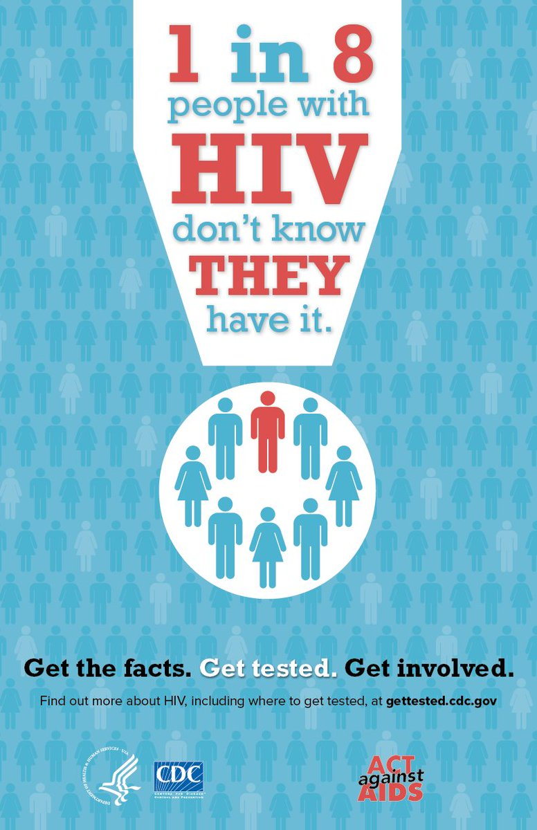 CDC est. 1.2 million ppl are living w/ #HIV and 1 in 8 don't know it. #NHTDChat https://t.co/on3mqyjsy8