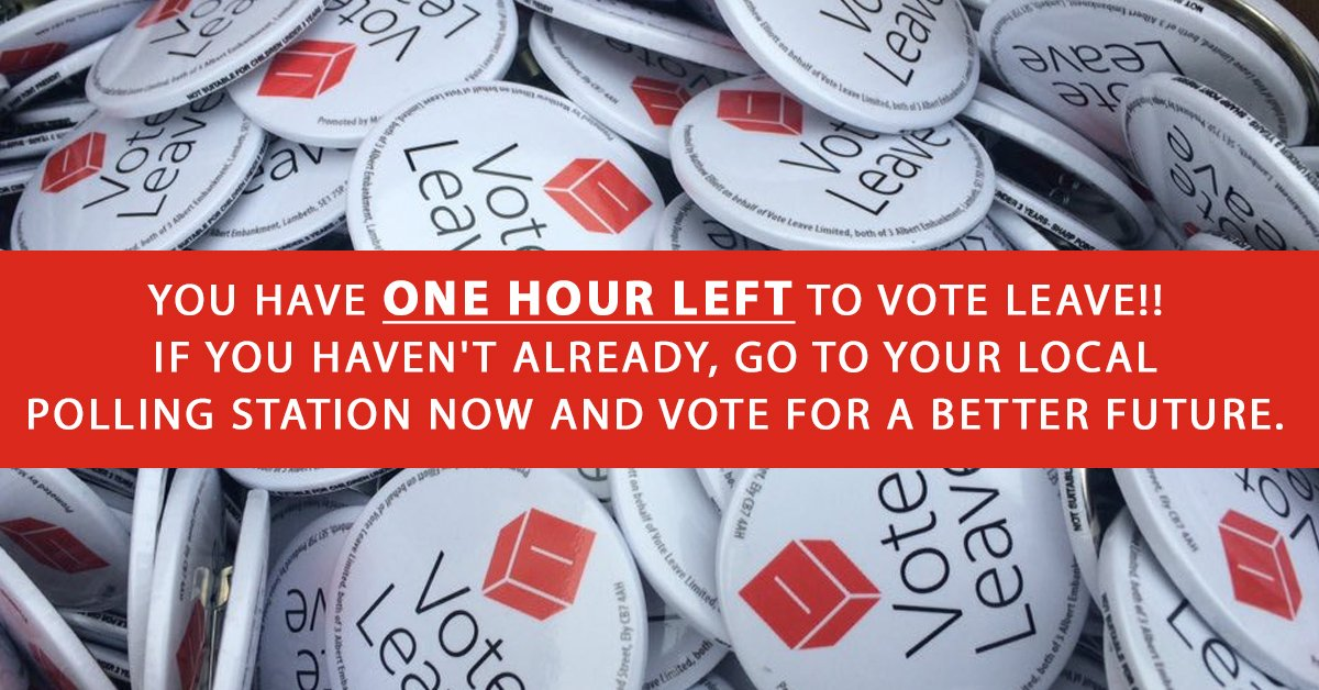 ONE HOUR TO GO! Go out and vote if you haven't already! #VoteLeave #IVotedLeave #ProjectHope https://t.co/9YmlHT2Luf