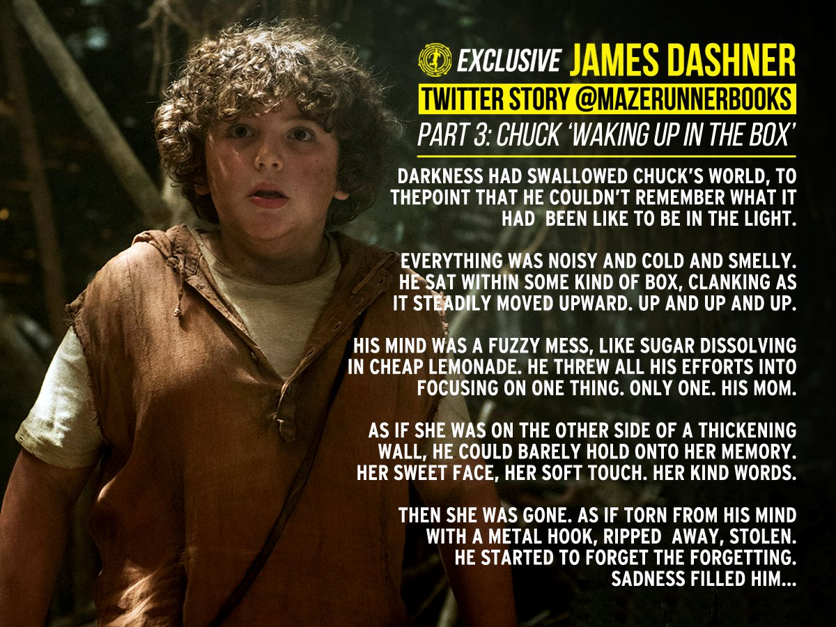 #TBT - @jamesdashner's exclusive short stories.  Youngest and most mischievous Glader #Chuck waking up in the box! https://t.co/a72O2KnAka