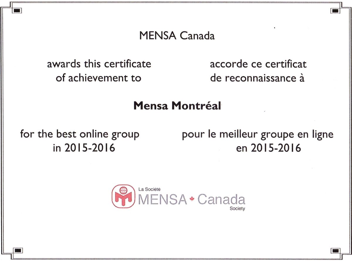 Mensa montreal on twitter congrats and thanks to all thanks to mensa montreal on twitter congrats and thanks to all thanks to you mensa montreal is mensa canadas best online group for 2015 2016 1betcityfo Images