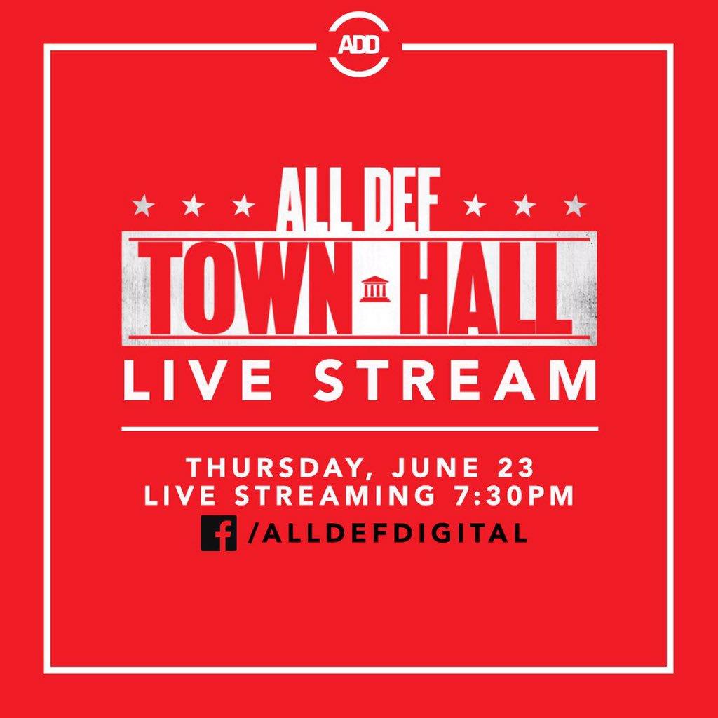 RT @AllDefDigital: Stream the #AllDefTownHall live tonight at 7:30 PST on our Facebook. https://t.co/KVfcJ76nCy
