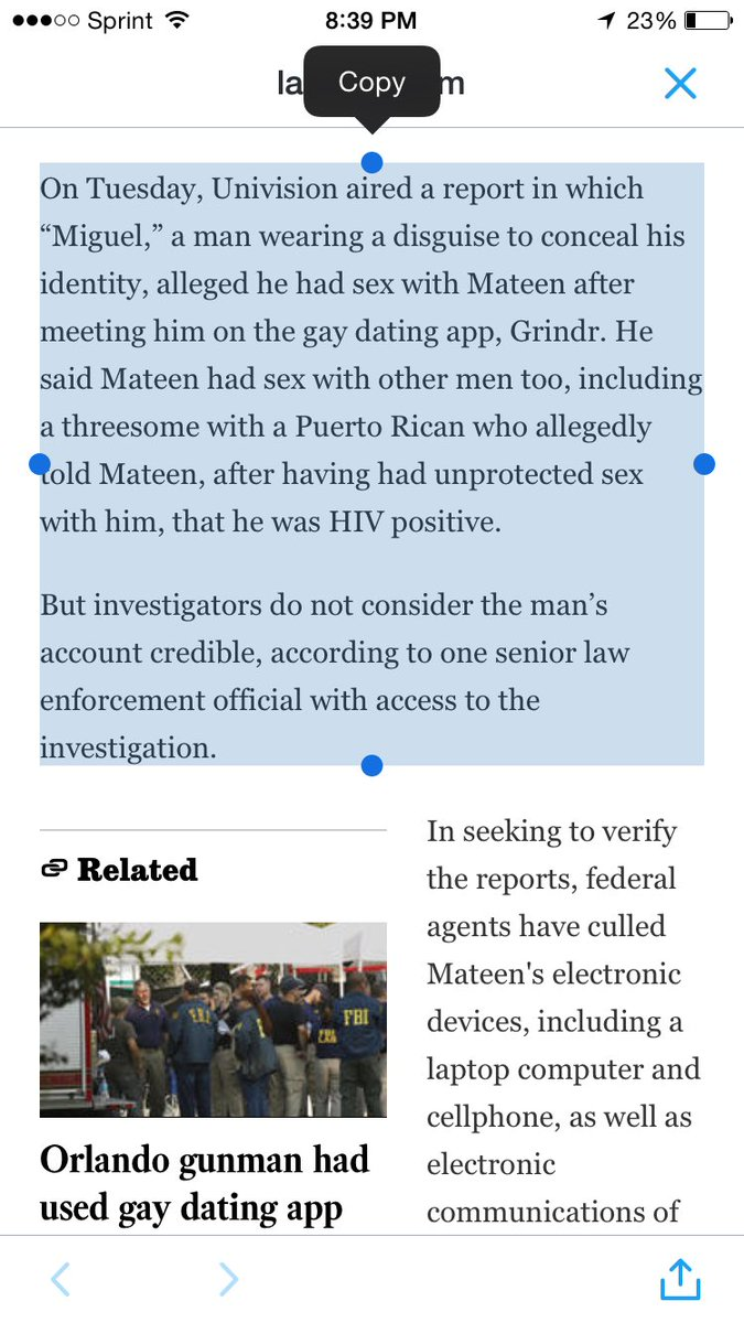 Man who claimed to be in a relationship with Mateen was apparently lying, per the FBI https://t.co/WhOVopSAea