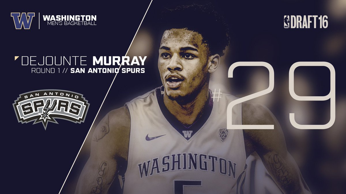 Congrats to @DejounteMurray on being the 29th pick in the #NBADraft2016 headin to the @spurs #ProDawgs #HuskyFamily https://t.co/JMkeSlKN6s