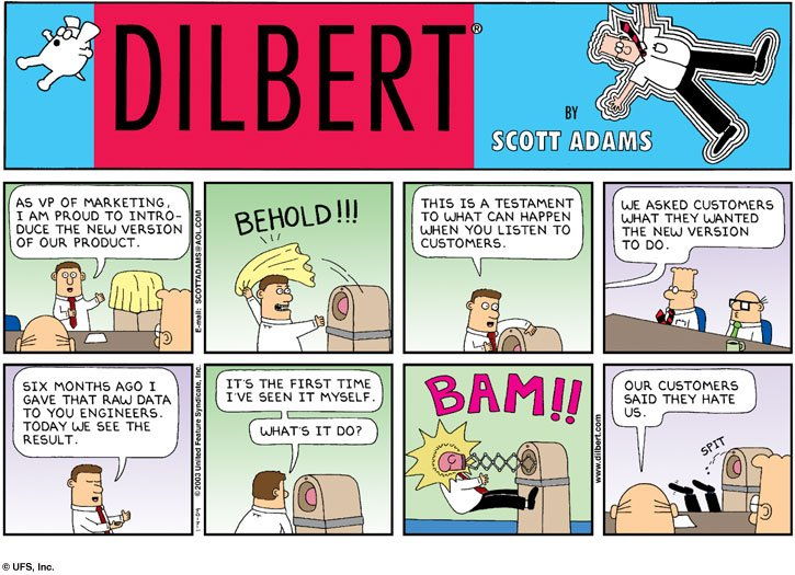 Dilbert comic where marketing person gets engineer to build what users asks for, and it punches them in the face.