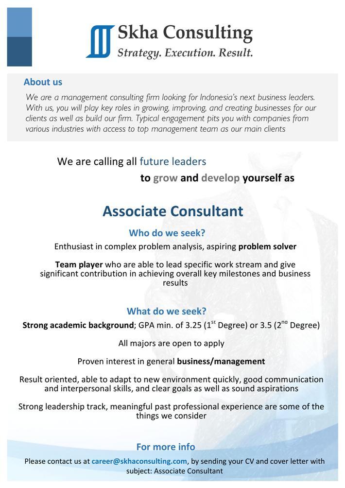 Associate Consultant Cover Letter