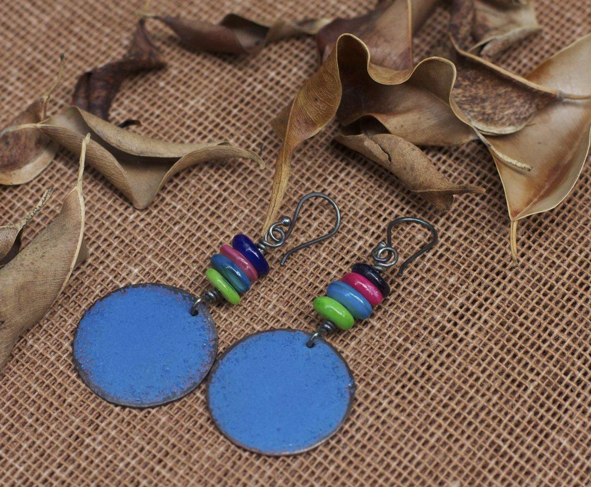 Blue enamel earrings, Enamel jewelry, Copper earrings, Copper enamel, Colorful earrings, Dangle earrings, Blue bohemian earrings, Boho, Blue