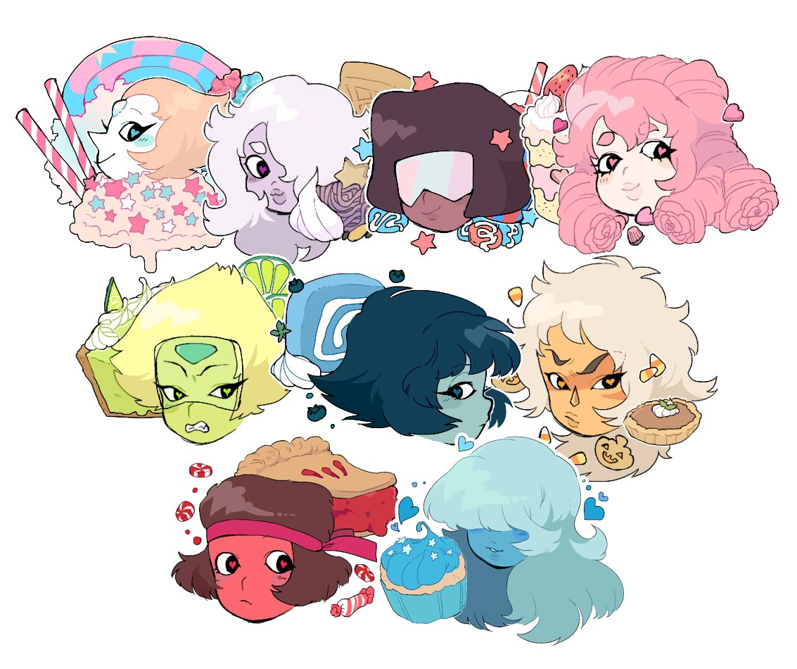 """expanded my steven universe sticker set to include ruby and sapphire!! just in time for ax lol"""