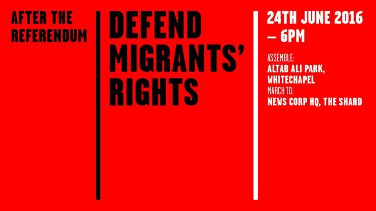 In London? After the referendum, defend migrant rights - Altab Ali Park, Whitechapel, 6pm tonight https://t.co/dWQ3aTSEyd