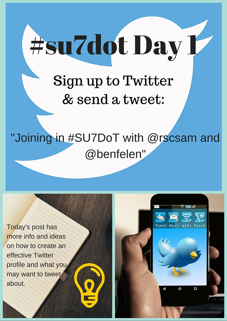 Day 1 of #SU7DoT: Set up your profile and send your first tweet! https://t.co/3LO3YfMgQs https://t.co/ug0bN5vXwZ