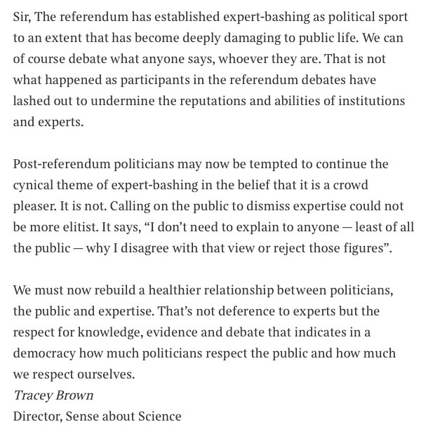 Our director Tracey Brown's letter in @thetimes today. We must rebuild a healthier relationship with expertise. https://t.co/kTN8NoJOwh