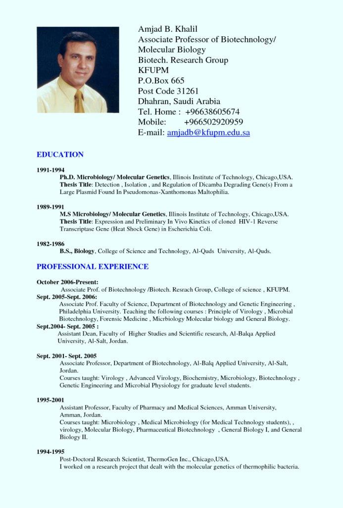 Molecular Biologist Resume
