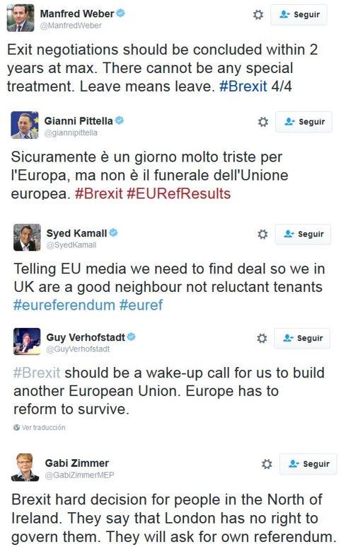 Tras Schulz, tuits de los líderes de grupo que han hecho declaraciones oficiales en el PE (a falta de Rebecca Harms)