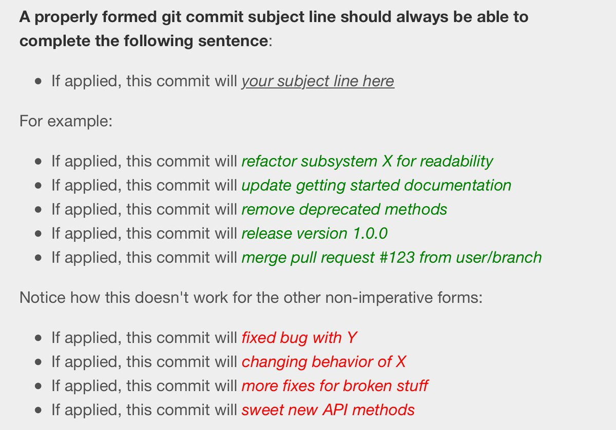 Good tip for the tense in which to write git commit subject lines. https://t.co/pvjnvhUb0s https://t.co/Yx5lqyF5Wn