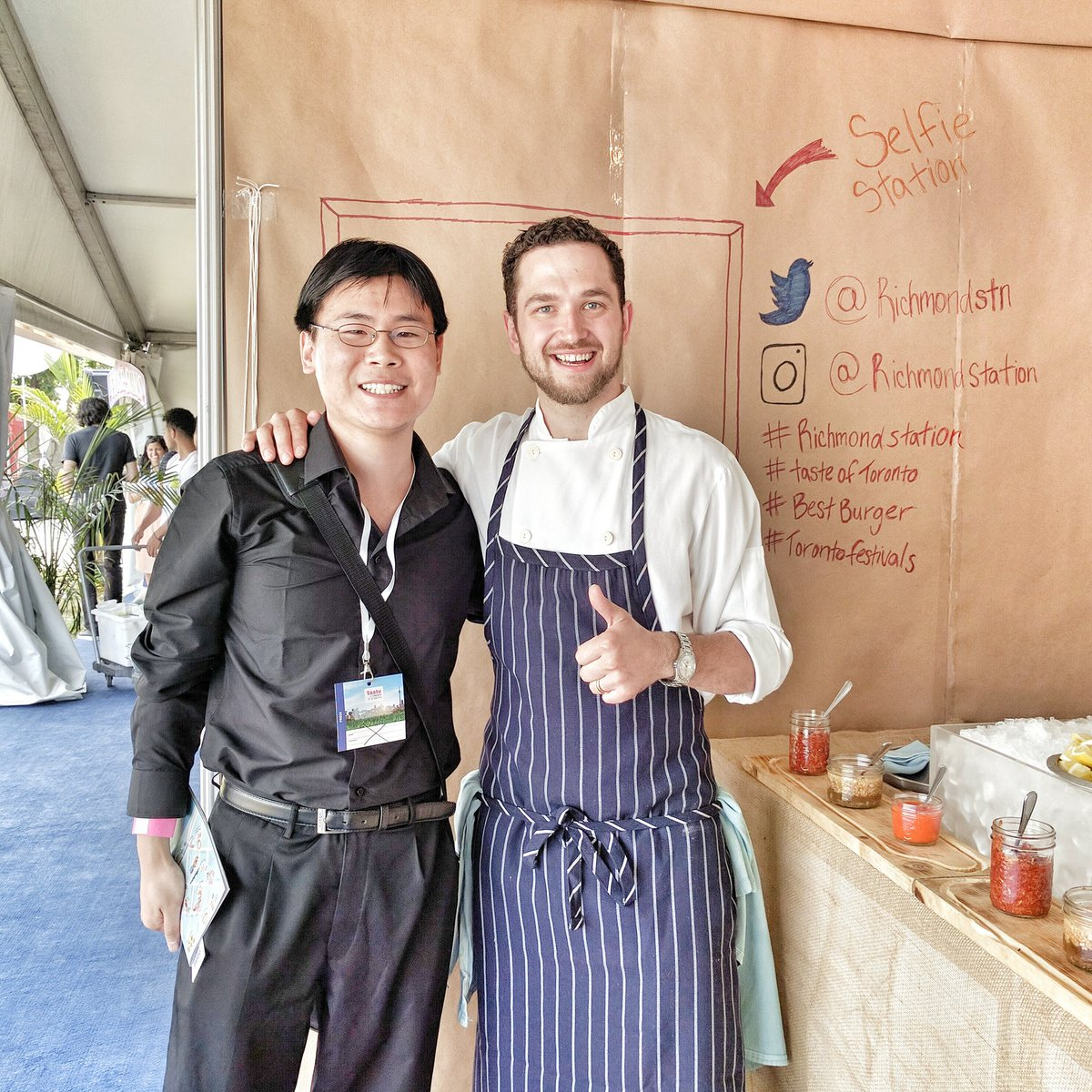 Chef Carl Henrich of Richmond Station with Travelling Foodie Raymond Cua at Taste of Toronto in Toronto, Ontario